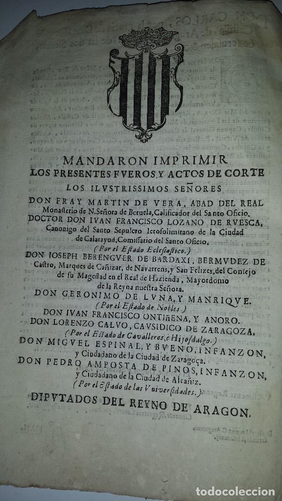 Libros antiguos: FVEROS Y ACTOS DE CORTE DE ARAGON - 1686 - Foto 4 - 67340457