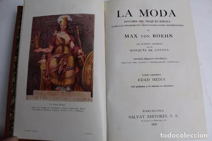 Libros antiguos: L- 4246. LA MODA, HISTORIA DEL TRAJE EN EUROPA, MAX VON BOEHN. 1928. - Foto 2 - 67569285