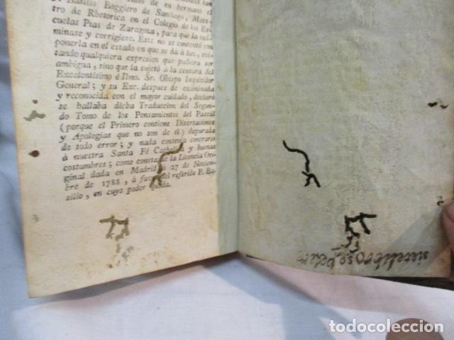 Libros antiguos: PENSAMIENTOS DE PASCAL SOBRE LA RELIGION, ANDRES BOGGIERO.ZARAGOZA 1790 - Foto 13 - 67996141