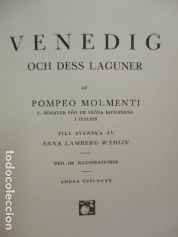 Libros antiguos: Venedig och dess Laguner - Pompeo Molmenti (en sueco) año 1928 - ver fotos - Foto 4 - 68396801