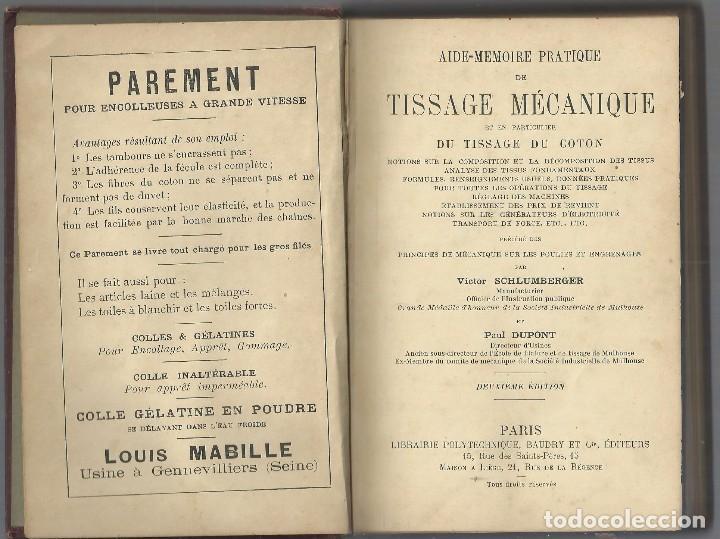 Libros antiguos: TISSAGE MECANIQUE, VICTOR SHULUMBERGER Y PAUL DUPONT, PARÍS, 1900 ? EN FRANCES - Foto 2 - 68414621