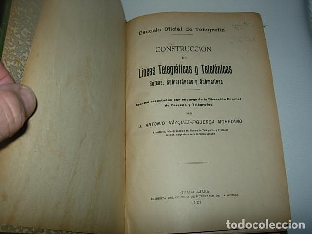 CONSTRUCCIÓN DE LÍNEAS TELEGRÁFICAS Y TELEFÓNICAS AÉREAS, SUBTERRÁNEAS Y SUBMARINAS. (Libros Antiguos, Raros y Curiosos - Bellas artes, ocio y coleccionismo - Otros)
