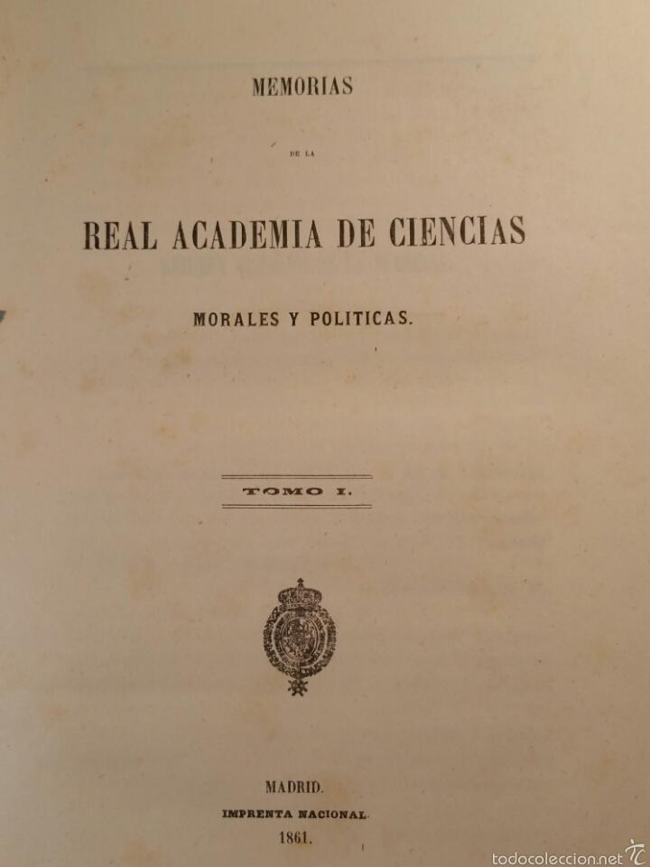 MEMORIAS DE LA REAL ACADEMIA DE CIENCIAS MORALES Y POLÍTICAS 1861 (Libros Antiguos, Raros y Curiosos - Pensamiento - Otros)