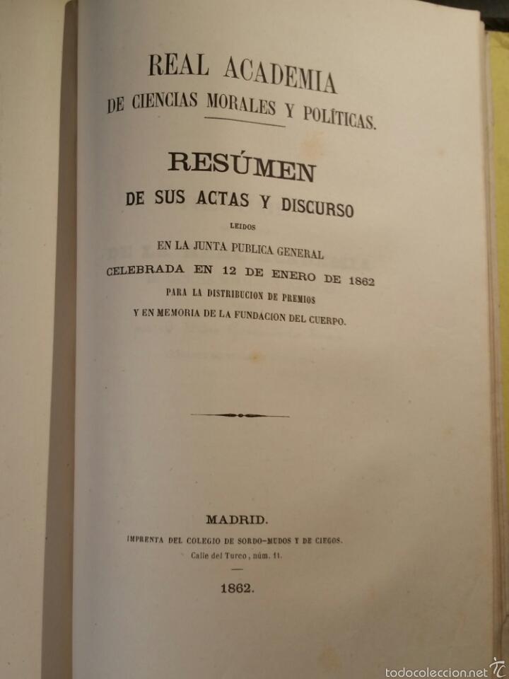 Libros antiguos: MEMORIAS DE LA REAL ACADEMIA DE CIENCIAS MORALES Y POLÍTICAS 1861 - Foto 5 - 69359054