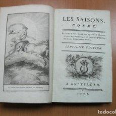 Libros antiguos: LAS ESTACIONES, CUENTOS ORIENTALES,...1775. J.F. DE SAINT-LAMBERT. POSEE 12 GRABADOS.. Lote 69606137