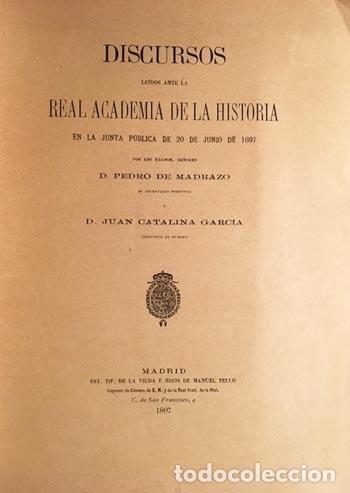Libros antiguos: Madrazo : Elogio del P. Fray José de Siguenza. (Real Academia de la Historia, 1897 - Foto 2 - 69635417