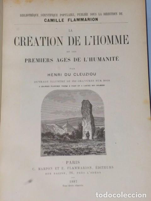 Libros antiguos: LA CRÉATION DE L´HOMME ET LES PREMIERS ÂGES DE L´HUMANITÉ.(1887) - Foto 2 - 69681241