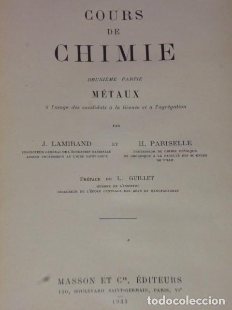 Libros antiguos: COURS DE CHIMIE. DEUXIÈME PARTIE: METAUX - Foto 2 - 70188529