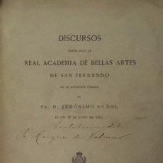 Libros antiguos: SUÑOL : HISTORIA DE LA ESCULTURA / APRECIACIONES DE LA ESCULTURA MODERNA. (ACADEMIA S FERNANDO 1882. Lote 70209817