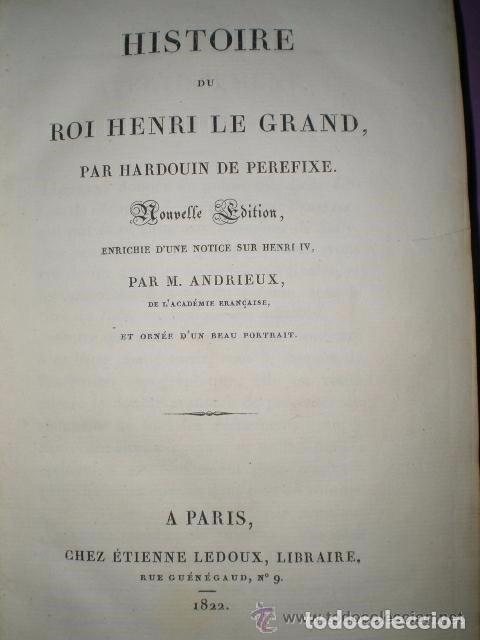 Libros antiguos: HISTOIRE DU ROI HENRI LE GRAND - Foto 2 - 70236641