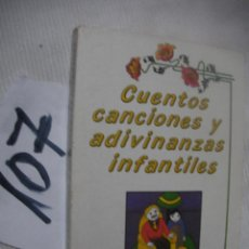 Libros antiguos: CUENTOS, CANCIONES Y ADIVINANZAS INFANTILES. Lote 70254309