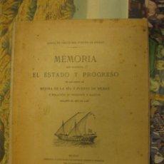 Libros antiguos: -MEMORIA DE LA RIA Y PUERTO DE BILBAO-, JUNTA DE OBRAS DEL PUERTO DE BILBAO. AÑO 1926.. Lote 70368357