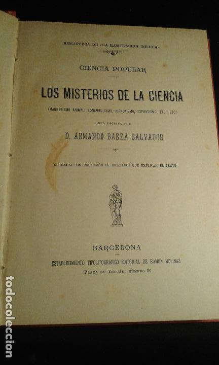 Libros antiguos: Misterios de la ciencia. Magnetismo animal, sonambulismo,hipnotismo,espiritismo...Baeza Salvador. Ba - Foto 2 - 70391065