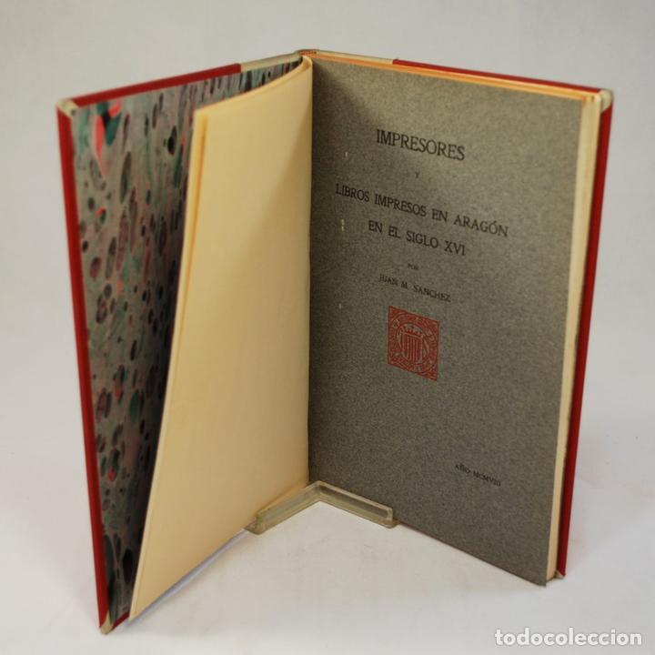 Libros antiguos: IMPRESORES Y LIBROS IMPRESOS EN ARAGÓN - SANCHEZ (Juan M.) - Foto 3 - 54240294