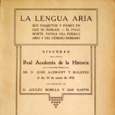 Libros antiguos: ALEMANY BOLUFER: LA LENGUA ARIA (1ª ED 1925) SUS DIALECTOS Y PAÍSES EN QUE SE HABLAN... (PUEBLO ARIO. Lote 71113953