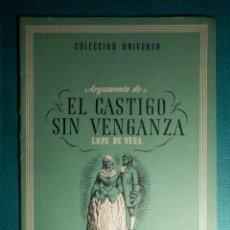 Libros antiguos: COLECCIÓN UNIVERSO - LAS OBRAS MAS FAMOSAS EL CASTIGO SIN VENGAZA TOMO 15 Nº 4 - EDICIONES ESPAÑA. Lote 71124057