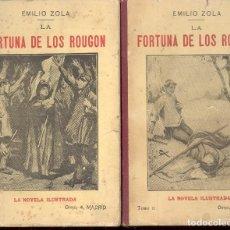 Libros antiguos: LA FORTUNA DE LOS ROUGON, TOMO I Y II - EMILIO ZOLA. Lote 71649931