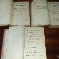 Libros antiguos: OEUVRES DE PAUW. RECHERCHES PHILOSOPHIQUES SUR LES AMERICAINS. 3 VOL. (1795). Lote 71919495