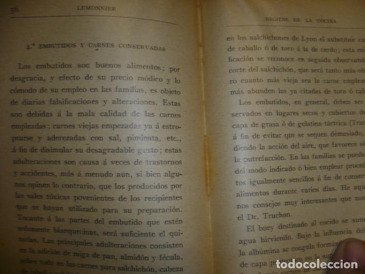 Libros antiguos: HIGIENE DE LA COCINA J.LEMONNIER S/F BARCELONA - Foto 3 - 72077343