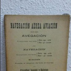 Libros antiguos: NAVEGACION AEREA AVIACION. AVEGACION/NAVEGACION. CRISTOBAL JUANDO Y RAFECAS. BARCELONA 1904.. Lote 72442451