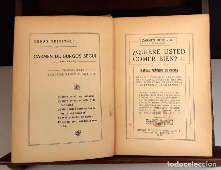 Libros antiguos: 8293 - ¿QUIERE USTED COMER BIEN?. CARMEN DE BURGOS. EDIT. RAMÓN SOPENA. 1936. - Foto 2 - 72837375