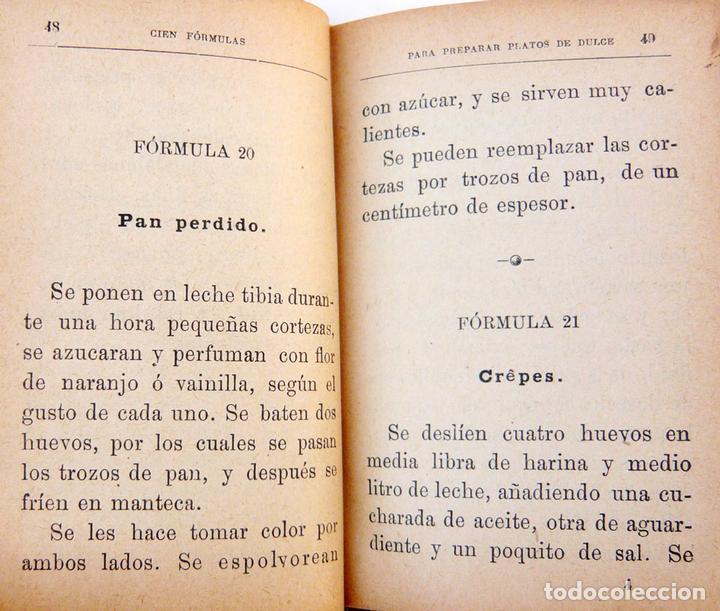 Libros antiguos: CIEN FORMULAS PARA PREPARAR PLATOS DE DULCE / M. ROSE / ED. CALLEJA 1900 / MUY DIFICIL/ BUEN ESTADO - Foto 5 - 72845771