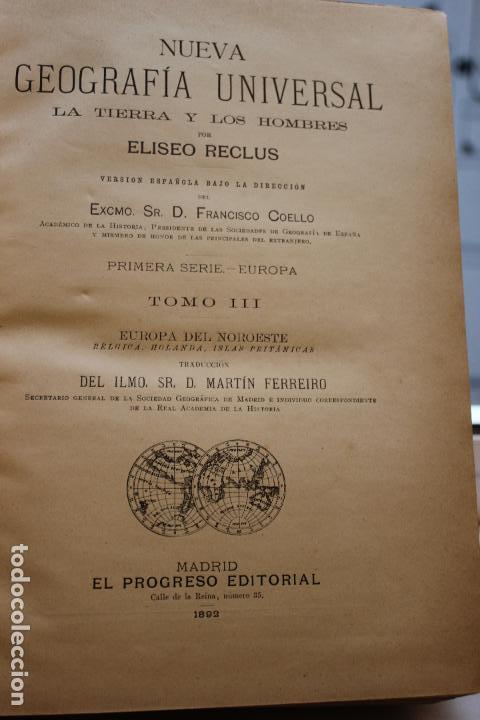 Libros antiguos: NUEVA GEOGRAFIA UNIVERSAL POR ELISEO RECLUS. EL PROGRESO 1892. PRIMERA SERIE EUROPA TOMO III. - Foto 3 - 72915663