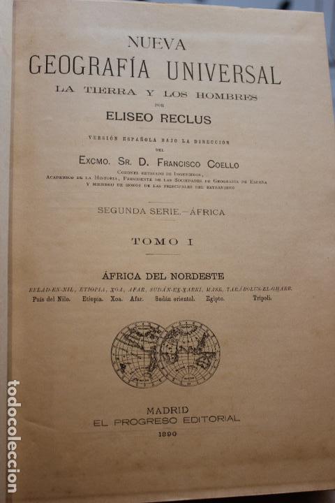 Libros antiguos: NUEVA GEOGRAFIA UNIVERSAL POR ELISEO RECLUS.EL PROGRESO 1890. SEGUNDA SERIE: AFRICA TOMO I - Foto 3 - 72928487