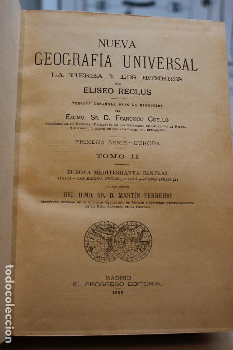Libros antiguos: NUEVA GEOGRAFIA UNIVERSAL POR ELISEO RECLUS.EL PROGRESO 1889.PRIMERA SERIE: EUROPA TOMO II - Foto 3 - 72928703