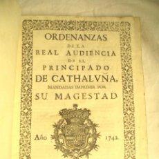 Libros antiguos: ORDENANZAS DE LA REAL AUDIENCIA PRINCIPADO DE CATALUÑA MANDADAS POR EL REY AÑO 1742, LIBRO PERGAMINO. Lote 72934503