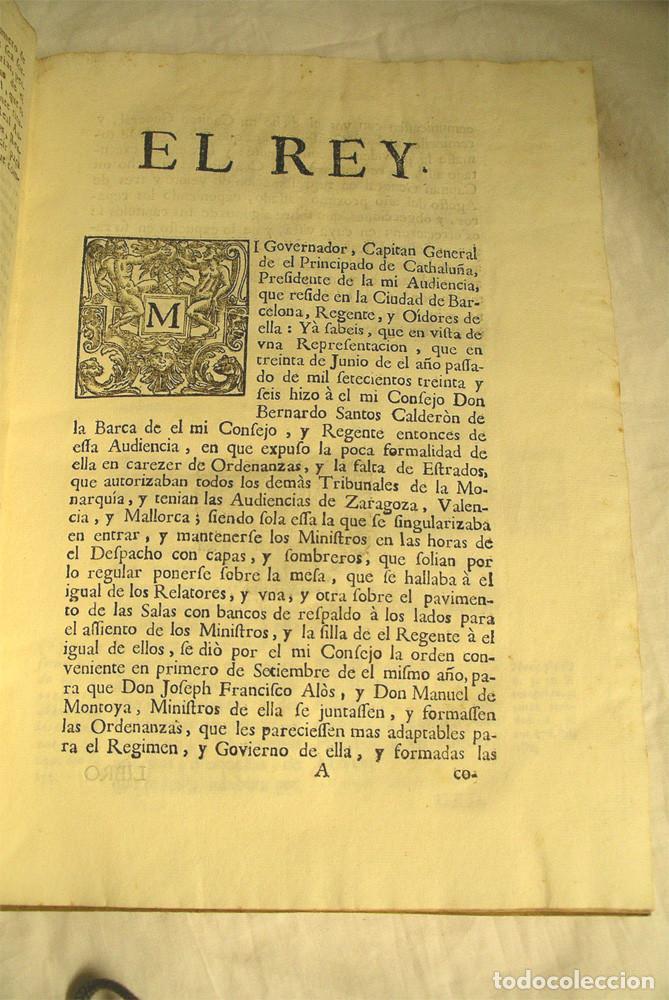Libros antiguos: Ordenanzas de la Real Audiencia Principado de Cataluña mandadas por el Rey año 1742, Libro pergamino - Foto 2 - 72934503