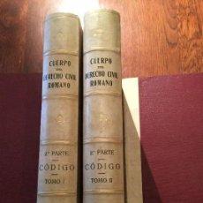 Libros antiguos: CÓDIGO DE JUSTINIANO. SEGUNDA PARTE DEL CUERPO DEL DERECHO CIVIL ROMANO. 2 TOMOS. 1892-95. O. C.. Lote 72946211