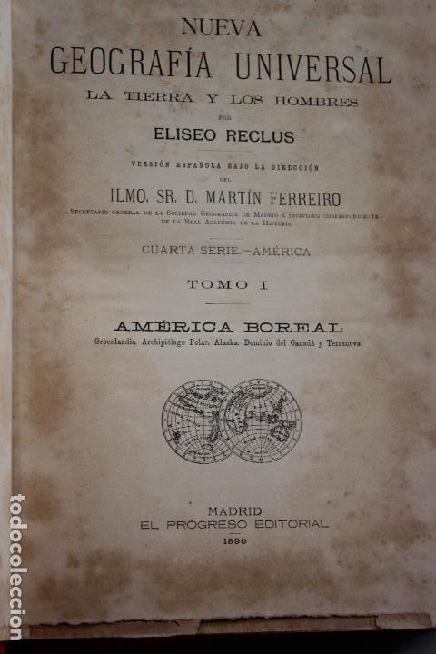 Libros antiguos: NUEVA GEOGRAFIA UNIVERSAL POR ELISEO RECLUS.EL PROGRESO 1890. CUARTA SERIE:AMERICA TOMO I - Foto 3 - 72947787