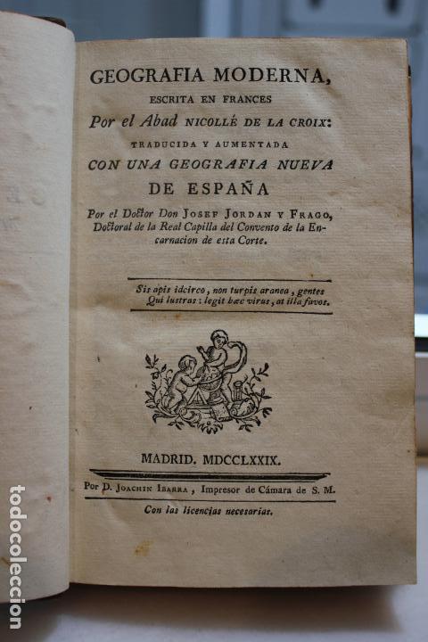 GEOGRAFIA MODERNA, POR EL ABAD NICOLLÉ DE LA CROIX. TOMO I. JOACHIM IBARRA 1779. VER FOTOS (Libros Antiguos, Raros y Curiosos - Ciencias, Manuales y Oficios - Otros)