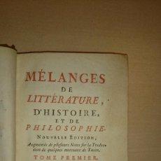 Libros antiguos: VOLTAIRE - LITERATURA - HISTORIA - CIENCIAS (F. BACON) - MELANGES DE LITTERATURE ... 1764. Lote 73483591
