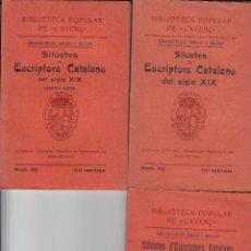 Libros antiguos: GRAS I ELIAS SILUETES DE ESCRIPTORS CATALANS DEL SEGLE XIX L'AVENÇ 1909 TRES VOLS. Lote 74075735
