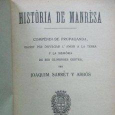 Libros antiguos: HISTORIA DE MANRESA.SARRET Y ARBOS, JOAQUIM.. Lote 74573311