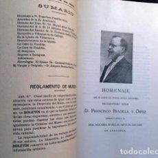 Libros antiguos: BOLETÍN MUSEO BELLAS ARTES DE ZARAGOZA Nº 9. 1923 (HOMENAJE A DON FRANCISCO PRADILLA, OFRECIDO POR L. Lote 235925570