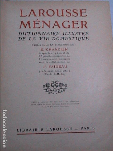 Libros antiguos: DICCIONARIO DOMÉSTICO ILUSTRADO.1926. LAROUSSE. EN FRANCÉS. - Foto 3 - 75090687