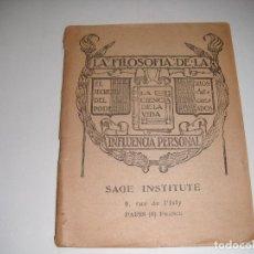 LIBRO LIBRILLO LA FILOSOFIA DE LA INFLUENCIA PERSONAL SAGE INSTITUTE PARIS