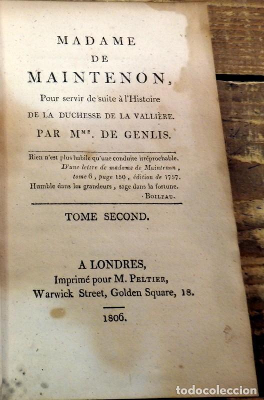 MADAME DE MAINTENON. TOMO II, LONDRES, 1806 , 286 PAGINAS, UNA JOYA (Libros Antiguos, Raros y Curiosos - Otros Idiomas)