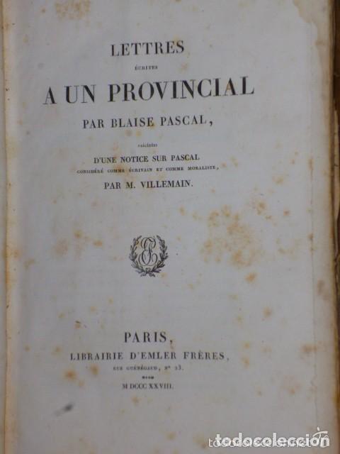 Libros antiguos: LETTRES ÉCRITES A UN PROVINCIAL (1828) - Foto 2 - 77260365
