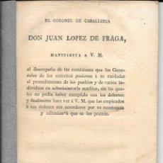 Libros antiguos: EL CORONEL DE CABALLERÍA DON JUAN LÓPEZ DE FRAGA...MADRID, IMPRENTA DE REPULLÉS. 1814. Lote 77745229