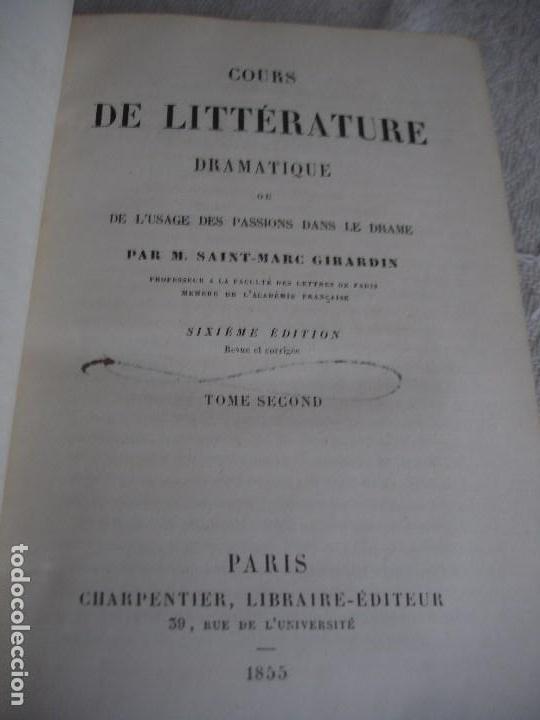 Libros antiguos: Historia de la literatura Saint Marc Girardin Cours de litterature 1855 - Foto 7 - 78350885