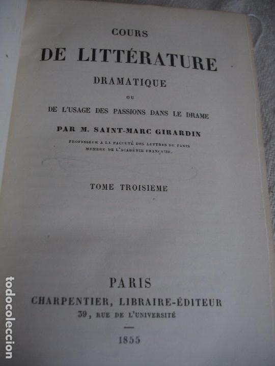 Libros antiguos: Historia de la literatura Saint Marc Girardin Cours de litterature 1855 - Foto 12 - 78350885