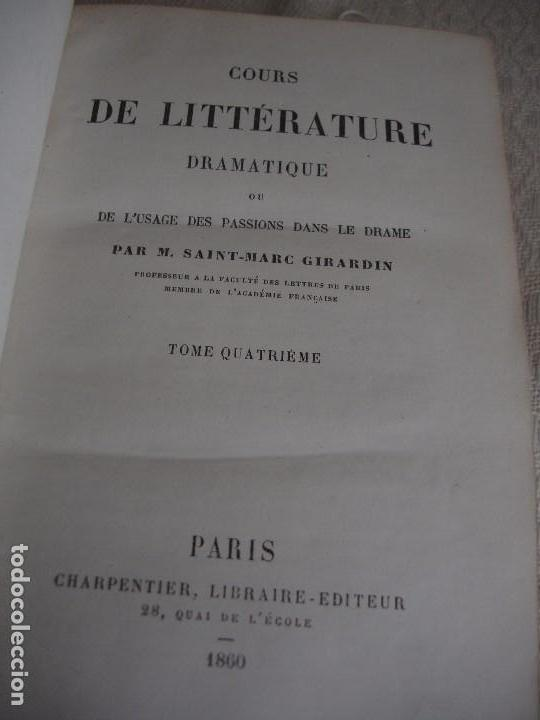 Libros antiguos: Historia de la literatura Saint Marc Girardin Cours de litterature 1855 - Foto 17 - 78350885