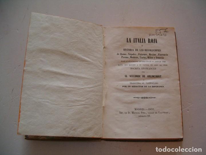 Libros antiguos: EL VIZCONDE DE ARLINCOURT, La Italia Roja. RM79296. - Foto 2 - 78412929