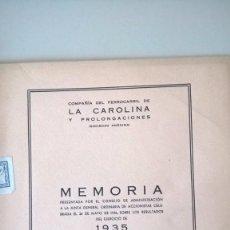 Libros antiguos: MEMORIA 1935 - COMPAÑIA DEL FERROCARRIL DE LA CAROLINA - JAEN - Y PROLONGACIONES. Lote 79119853