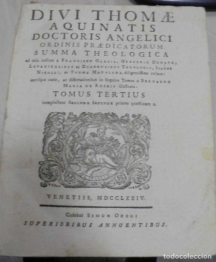 Libros antiguos: DIVI THOME AQUINATIS DOCTORIS ANGELICI. SIGLO XVIII. 7 TOMOS. VENETIIS. COMPLETA. VER FOTOS - Foto 12 - 79258733