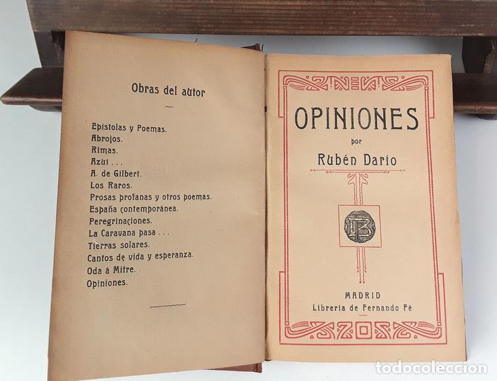 OPINIONES POR RUBÉN DARÍO. LIBRERÍA DE FERNANDO FÉ. S/F. (Libros Antiguos, Raros y Curiosos - Pensamiento - Otros)